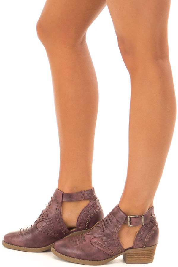 Boysenberry Faux Leather Detail Shoes with Side Cutouts side view
