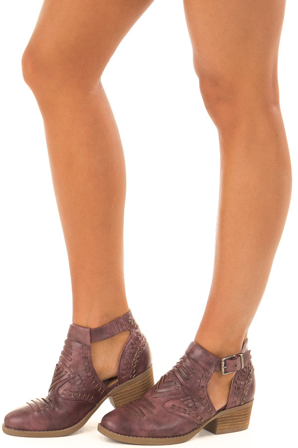 Boysenberry Faux Leather Detail Shoes with Side Cutouts front side view