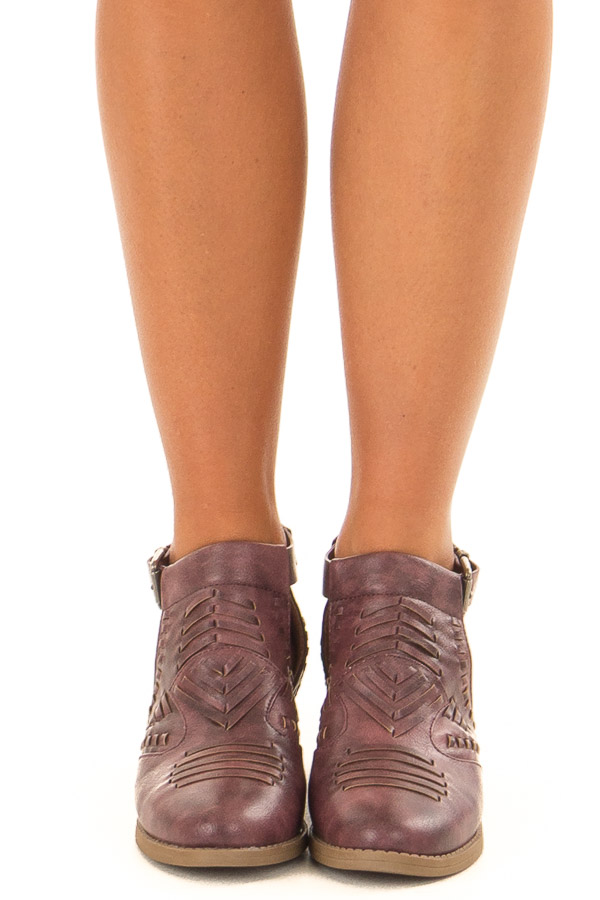 Boysenberry Faux Leather Detail Shoes with Side Cutouts front view