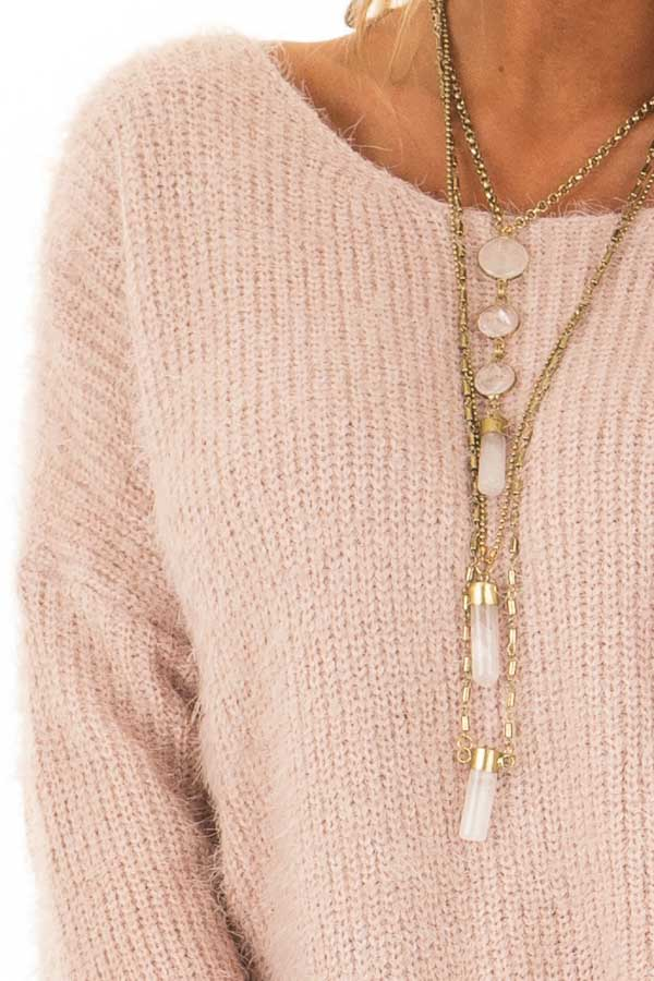 Dusty Pink Knit Sweater with Open Cross Back detail