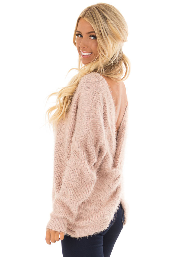 Dusty Pink Knit Sweater with Open Cross Back back side close up