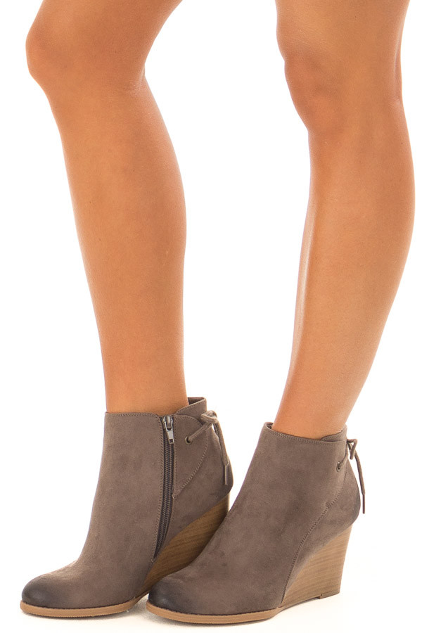 Dark Taupe Ombre Tip Wedge Booties with Shoelace Tie on Back front side view