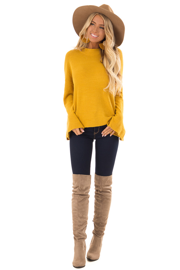 8f50ff06eb92a1 Mustard Long Sleeve Mock Neck Sweater with Bell Sleeves front full body