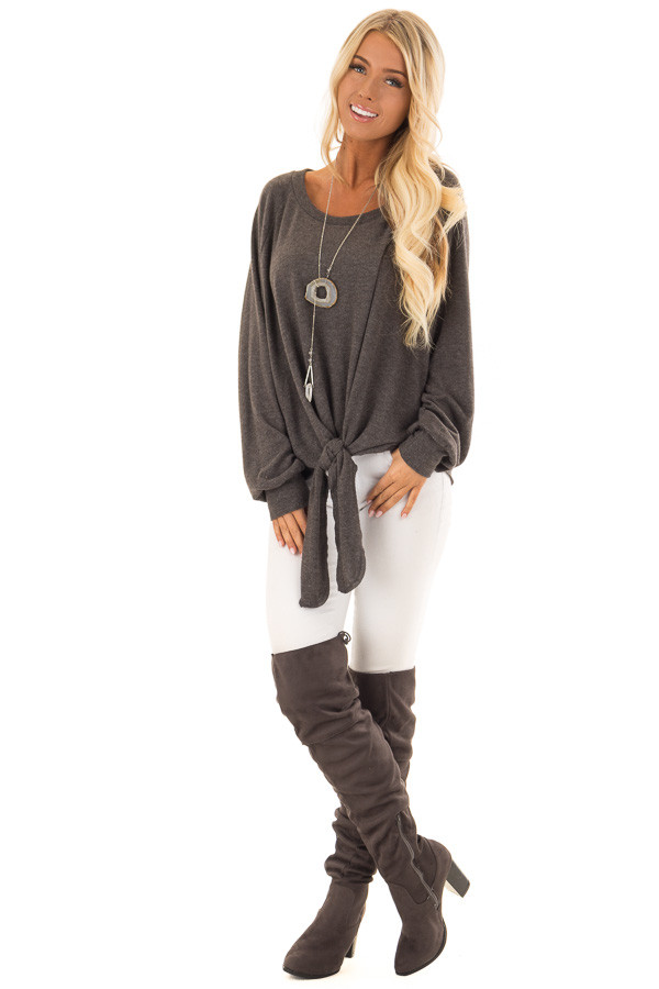 Charcoal Long Sleeve Top with Front Tie Detail