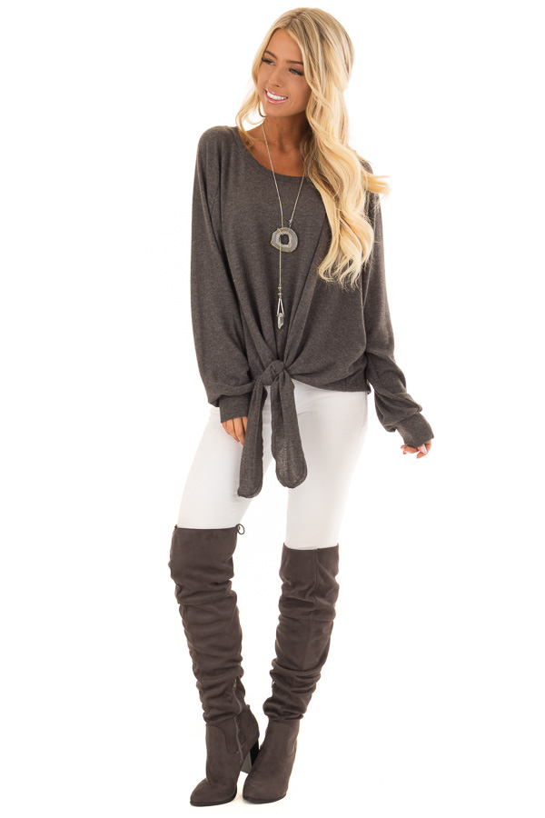 Charcoal Long Sleeve Top with Front Tie Detail front full body