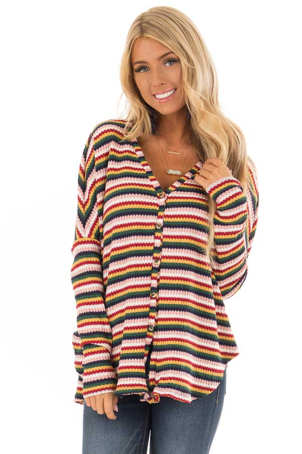 Multi Striped Button Up Long Sleeve Top with Front Tie front close up
