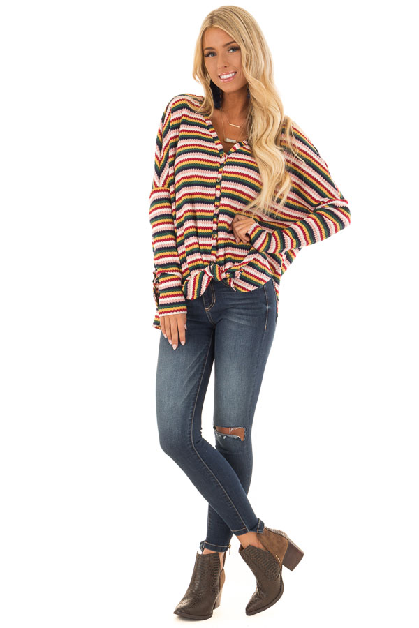 Multi Striped Button Up Long Sleeve Top with Front Tie front full body