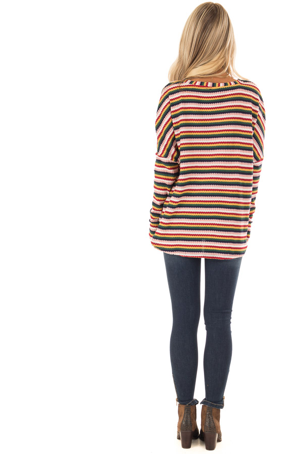 Multi Striped Button Up Long Sleeve Top with Front Tie back full body