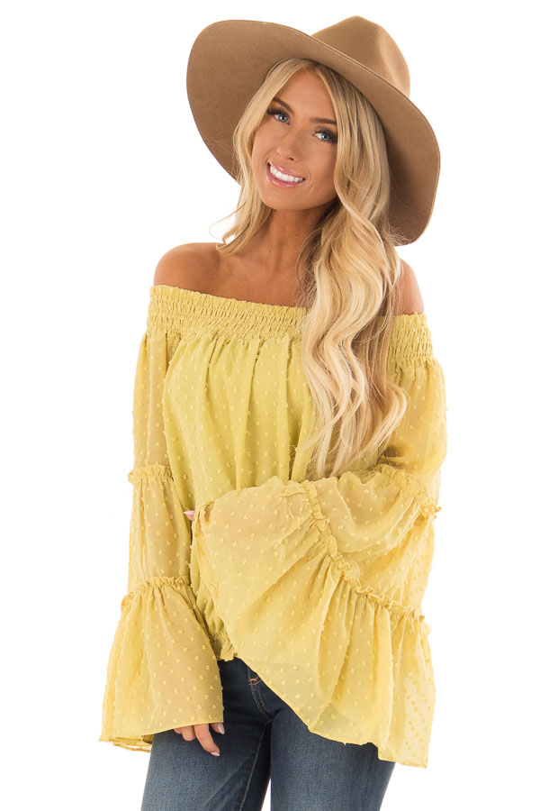 572124ecbc140c Mustard Yellow Sheer Off the Shoulder Top with Bell Sleeves front close up