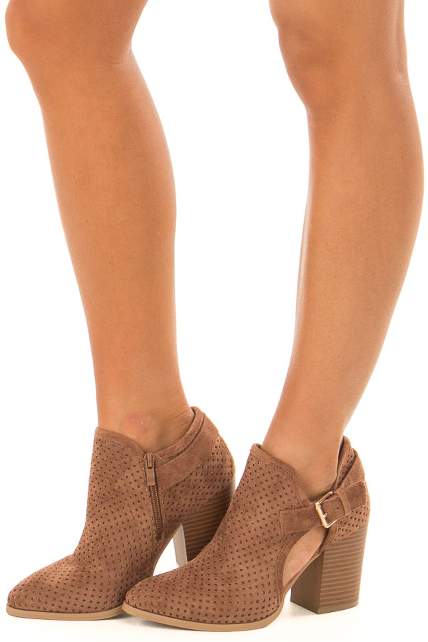 Camel Faux Suede Cut Out Heels with Buckle Detail front side view