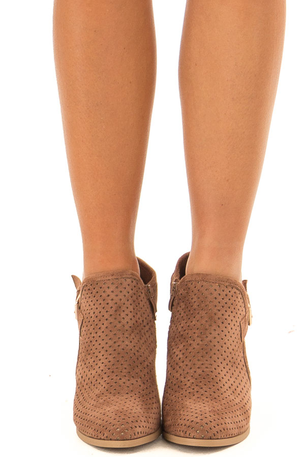 Camel Faux Suede Cut Out Heels with Buckle Detail front view