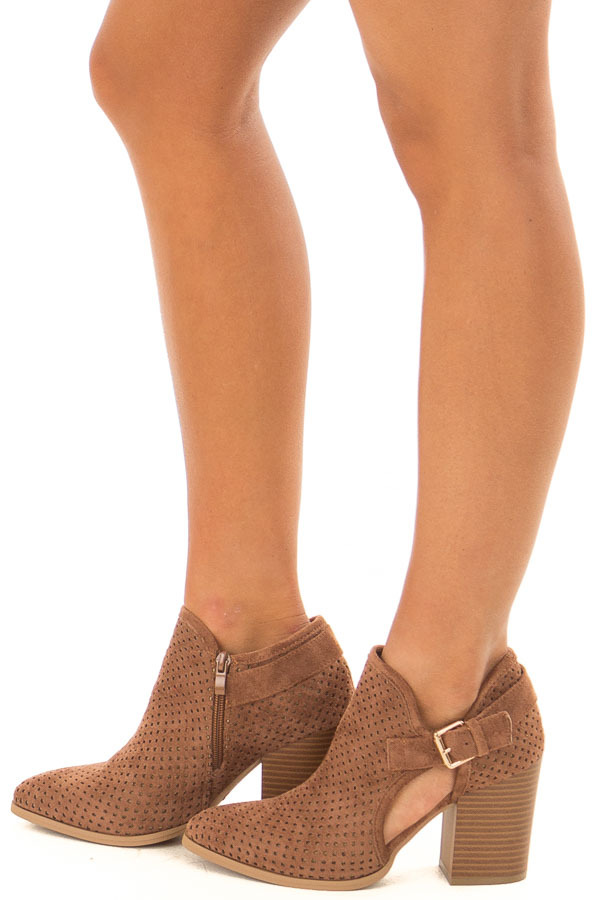 Camel Faux Suede Cut Out Heels with Buckle Detail side view