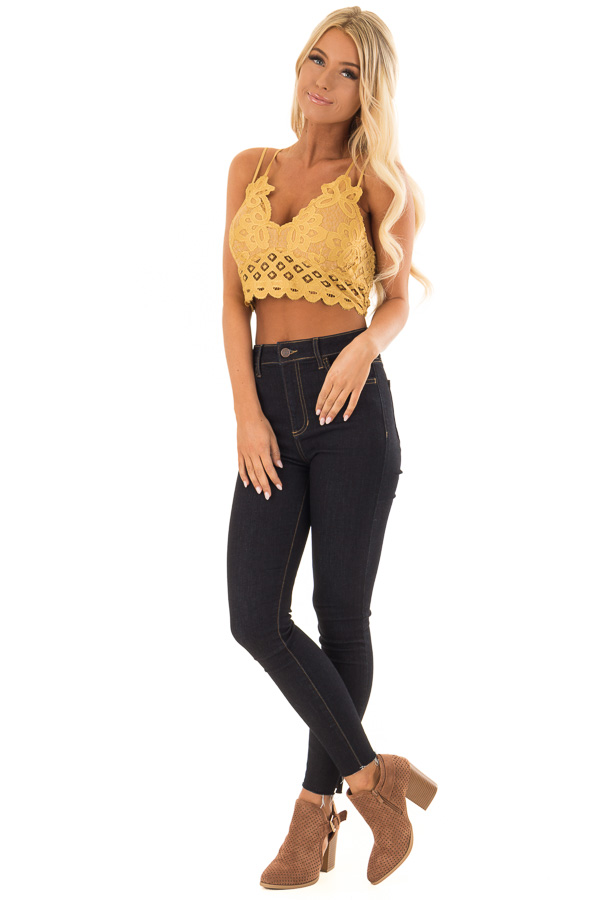 ba7ab7e5cc2 Mustard Lace Bralette with Adjustable Criss Cross Straps front full body ...