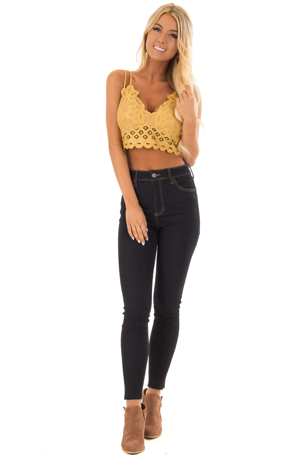 b2cdcb36a2 ... Mustard Lace Bralette with Adjustable Criss Cross Straps front full  body ...