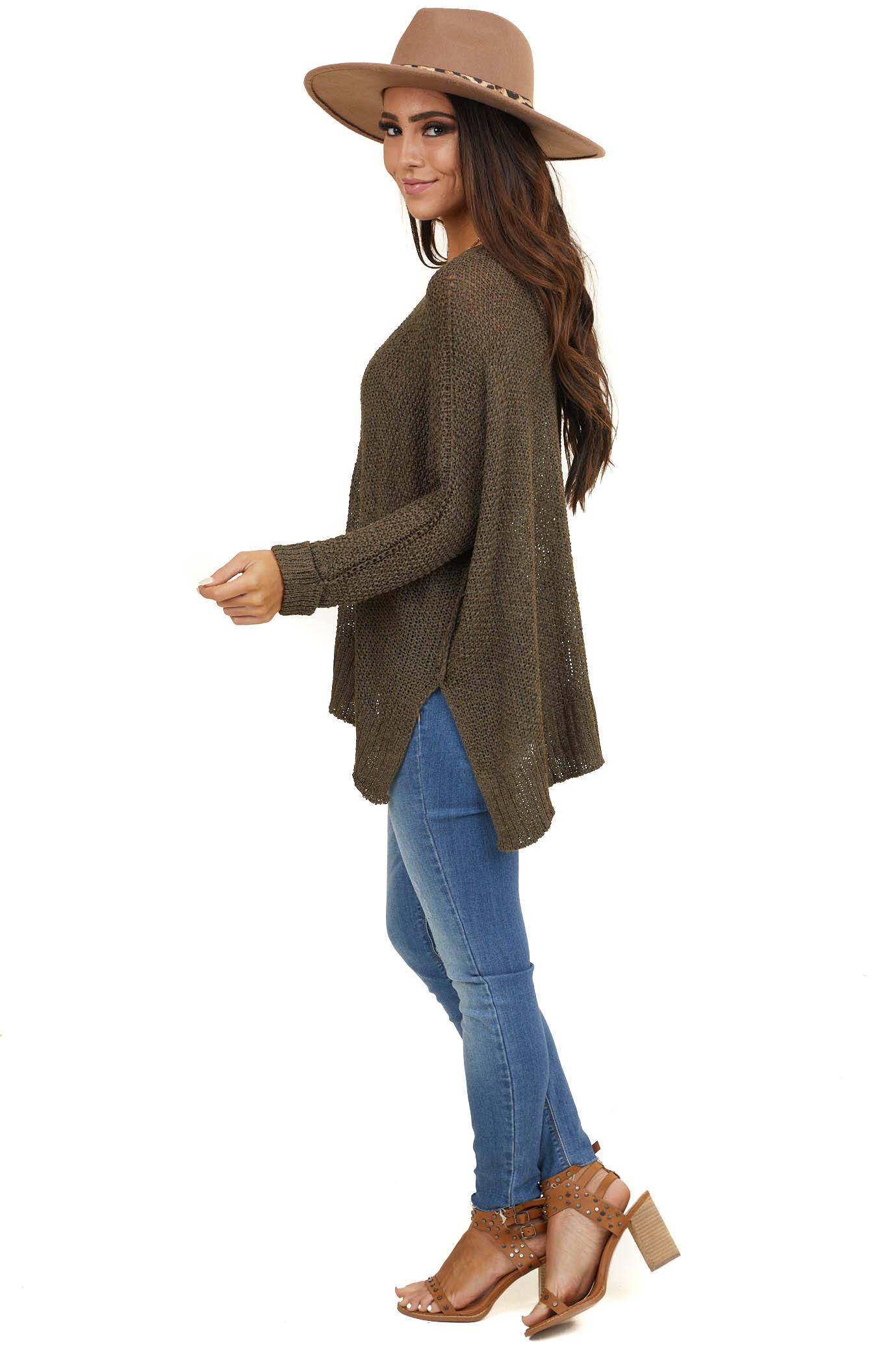 Olive Cable Knit Sweater with Dolman Sleeves