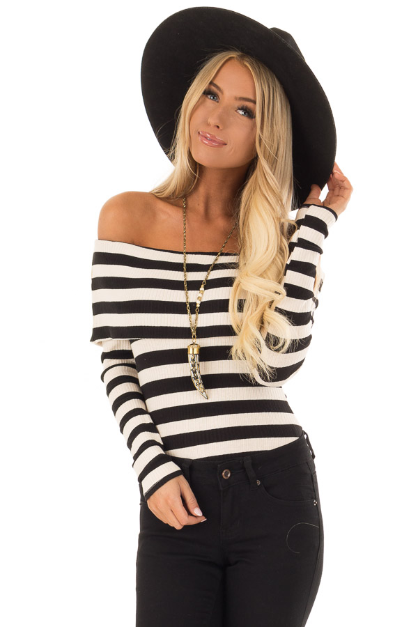 Cream and Black Stripe Off the Shoulder Ribbed Bodysuit - Lime Lush ... 89a0e62c0
