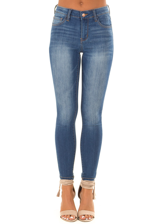 Medium Wash Mid Rise Crop Skinny Jeans front view