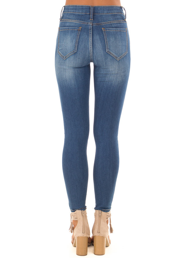 Medium Wash Mid Rise Crop Skinny Jeans back view