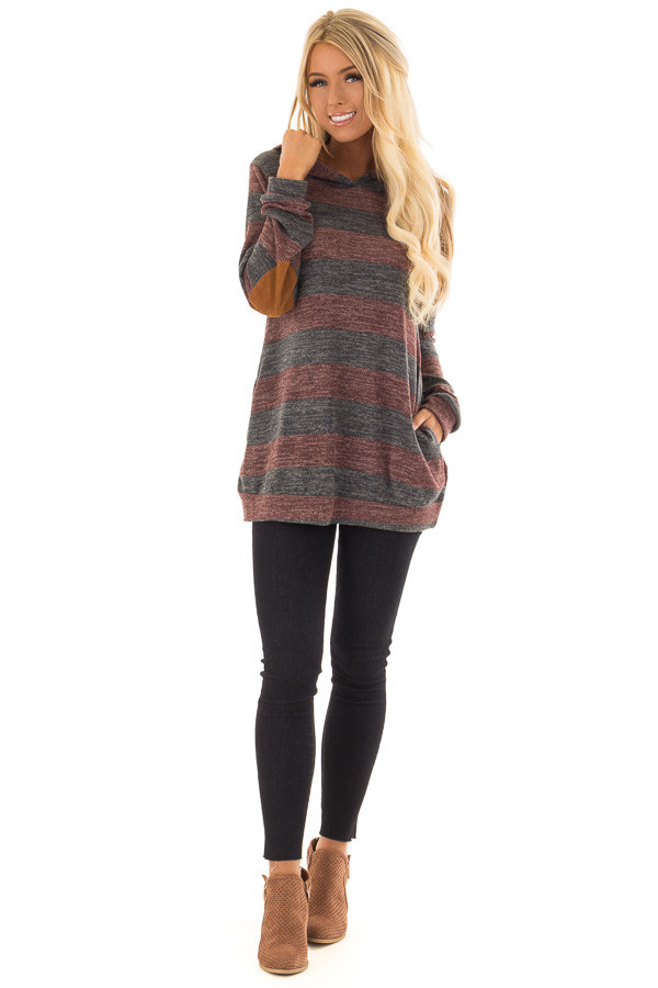 Burgundy and Charcoal Striped Hoodie with Elbow Patches front full body