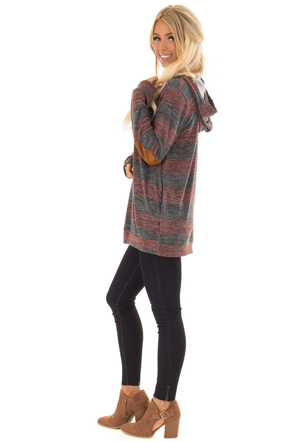 Burgundy and Charcoal Striped Hoodie with Elbow Patches side full body