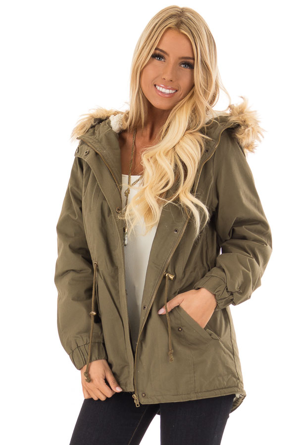 Olive Long Banded Sleeve Coat with Faux Fur Lining front close up