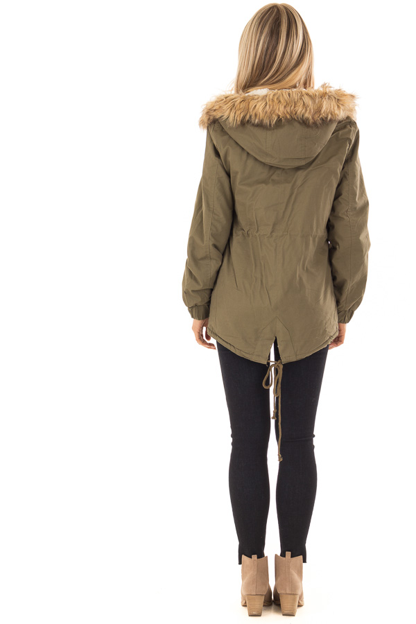 Olive Long Banded Sleeve Coat with Faux Fur Lining back full body