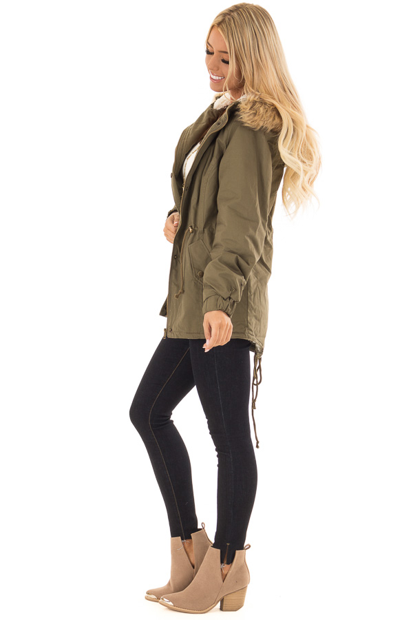 Olive Long Banded Sleeve Coat with Faux Fur Lining side full body
