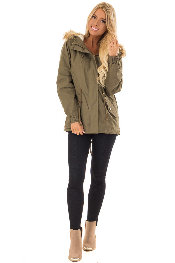 Olive Long Banded Sleeve Coat with Faux Fur Lining front full body
