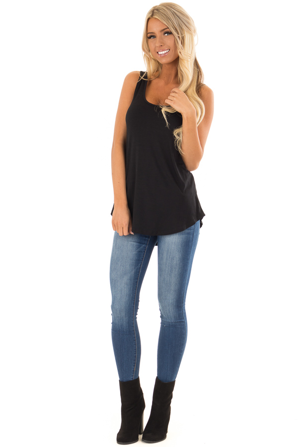 Black Loose Scoop Neck Rayon Tank Top front full body