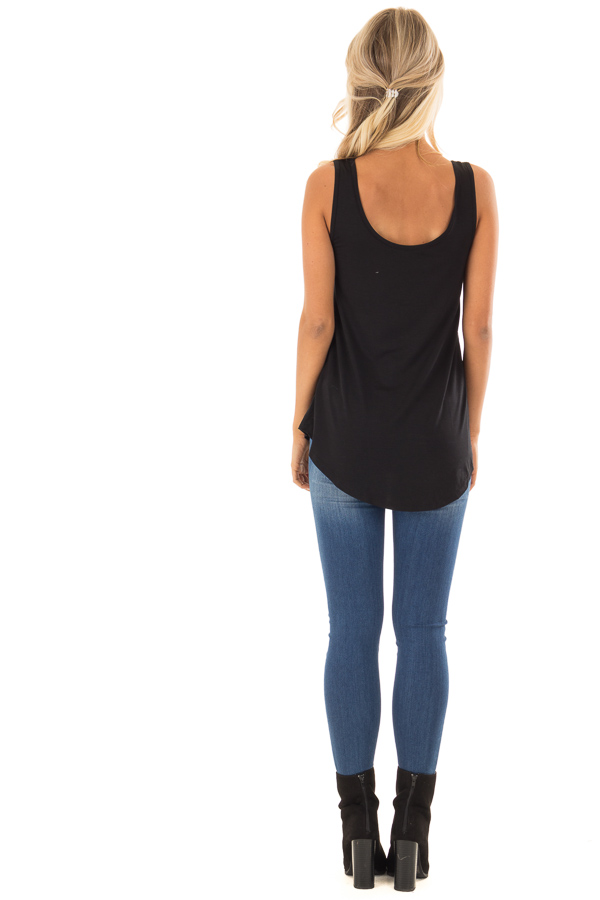 Black Loose Scoop Neck Rayon Tank Top back full body