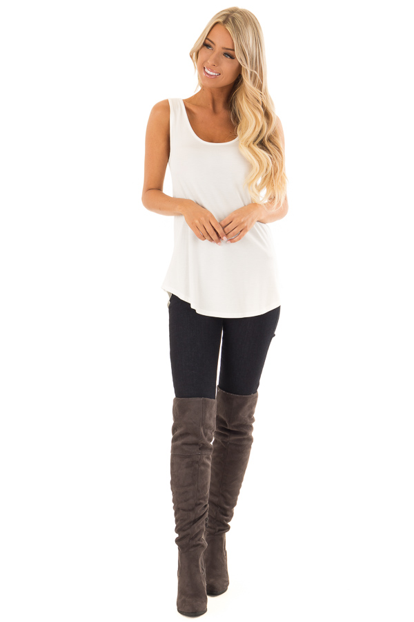 Ivory Loose Scoop Neck Rayon Tank Top front full body