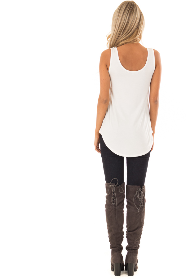 Ivory Loose Scoop Neck Rayon Tank Top back full body