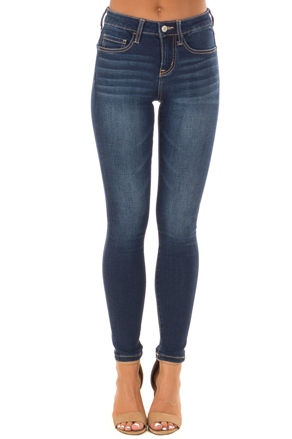 Dark Wash Mid Rise Ankle Skinny Jeans front view