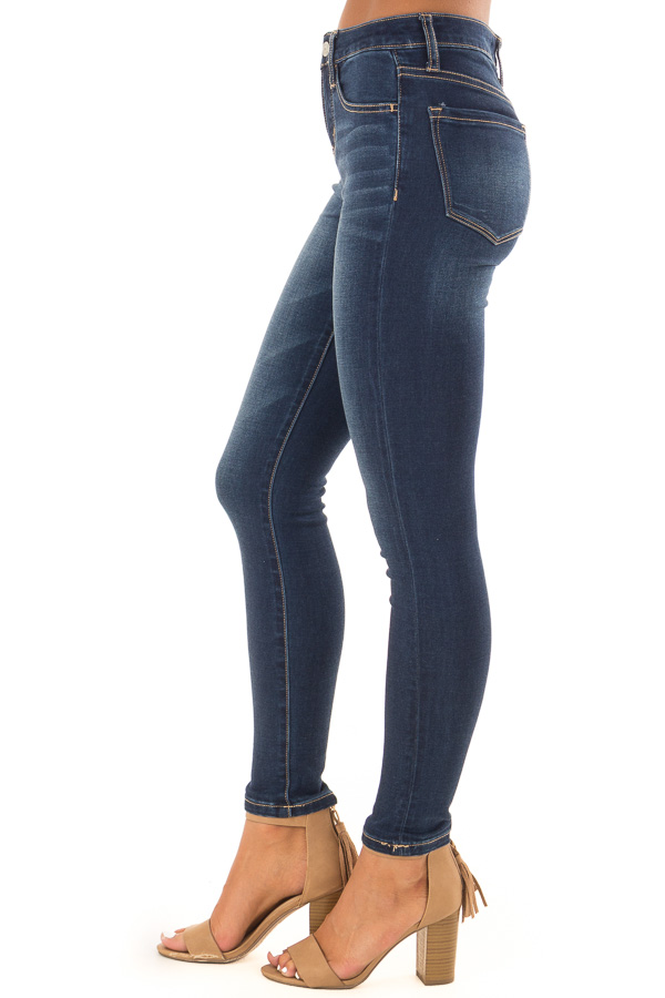 Dark Wash Mid Rise Ankle Skinny Jeans side view