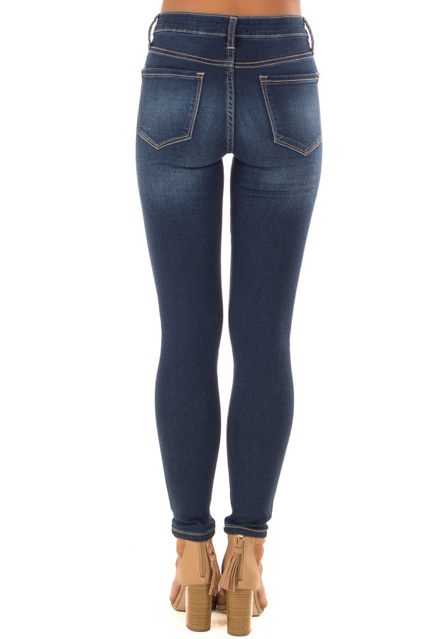 Dark Wash Mid Rise Ankle Skinny Jeans back view
