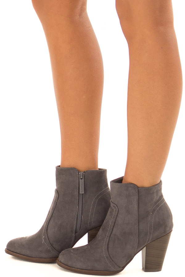 Charcoal Suede Booties With Walnut Stacked Block Heel side view