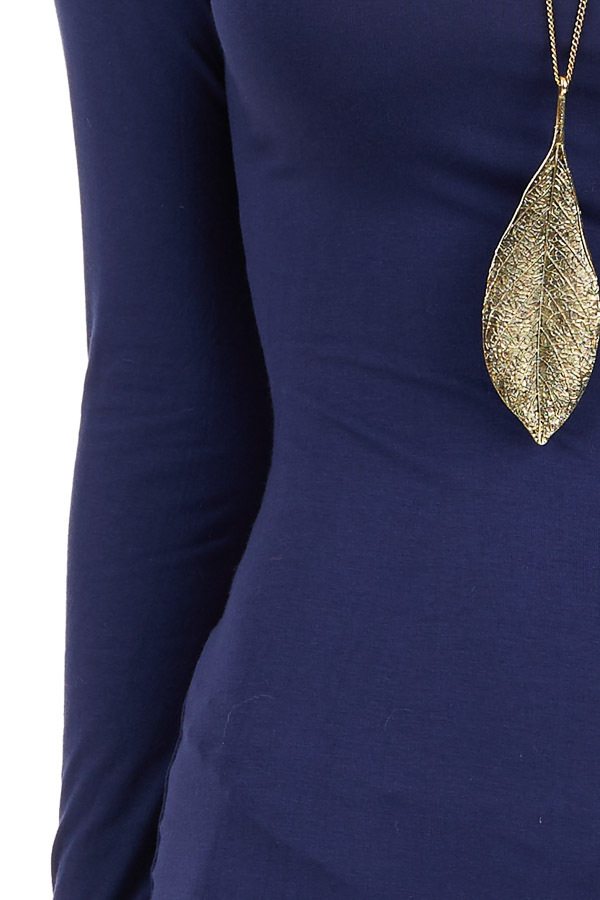 Navy Long Sleeve Bodycon Dress detail
