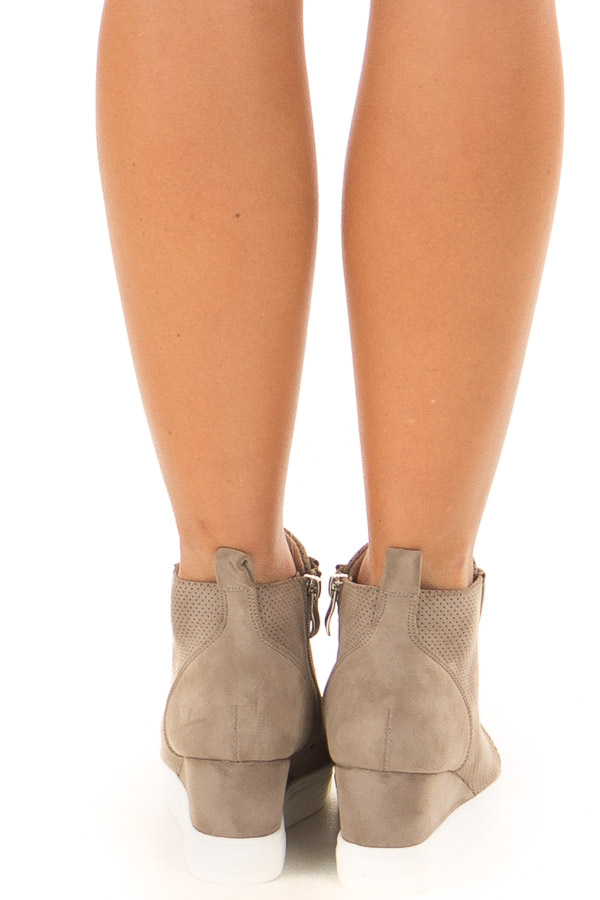 Taupe Faux Suede Wedge Sneaker with Zipper back view