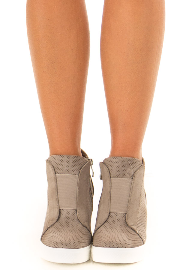 Taupe Faux Suede Wedge Sneaker with Zipper front view