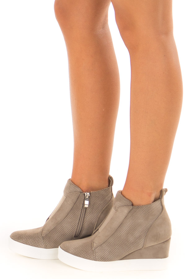 Taupe Faux Suede Wedge Sneaker with Zipper side view