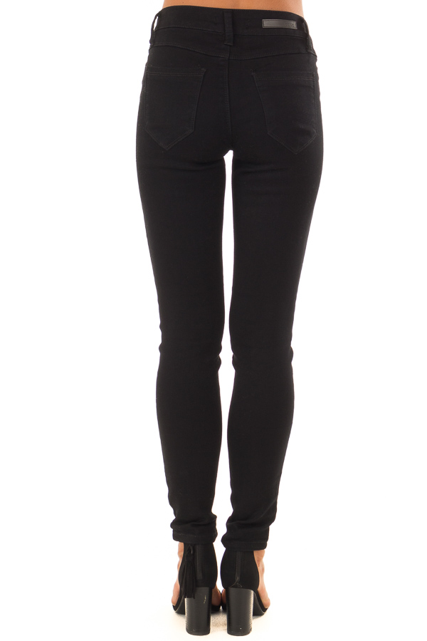 Black Stretchy Mid Rise Skinny Jeans back view