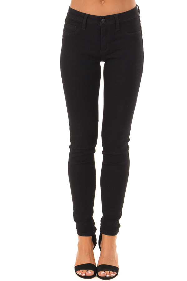Black Stretchy Mid Rise Skinny Jeans front view