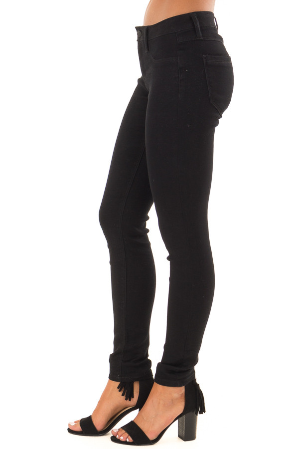 Black Stretchy Mid Rise Skinny Jeans side view