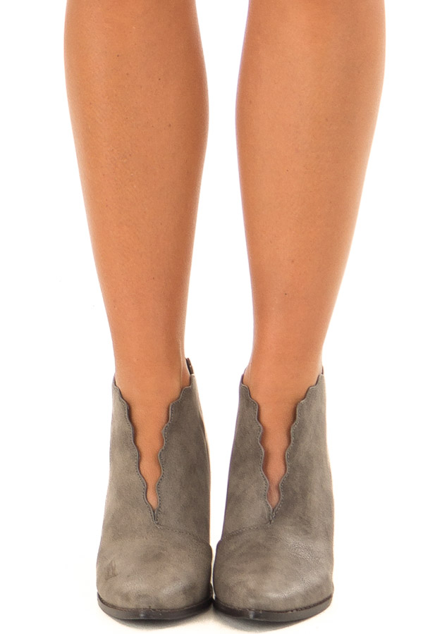 Ash Grey Scalloped Edge Heeled Bootie front view