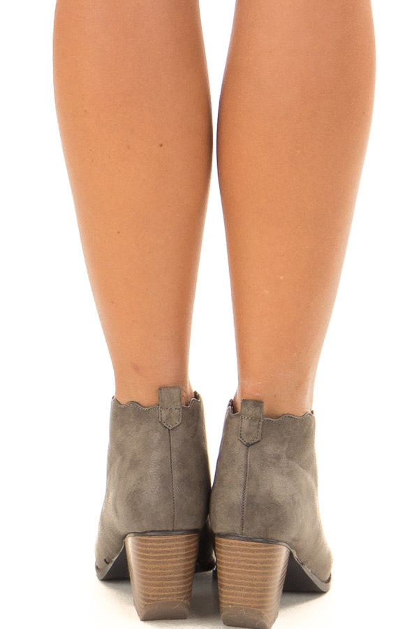 Ash Grey Scalloped Edge Heeled Bootie back view