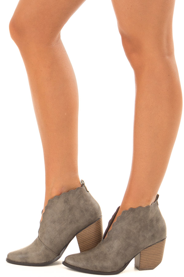 Ash Grey Scalloped Edge Heeled Bootie side view
