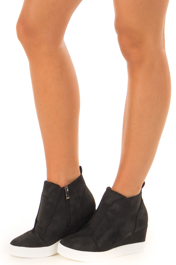 Black Faux Suede Wedge Sneaker with Zipper side view
