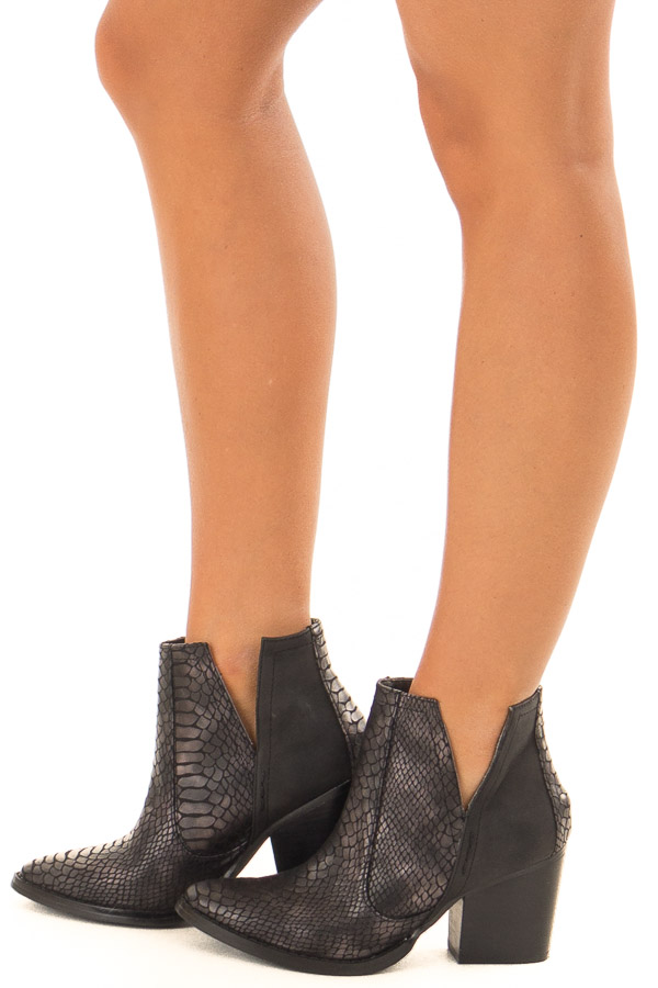 Black Snake Skin and Faux Suede Heeled Bootie side view