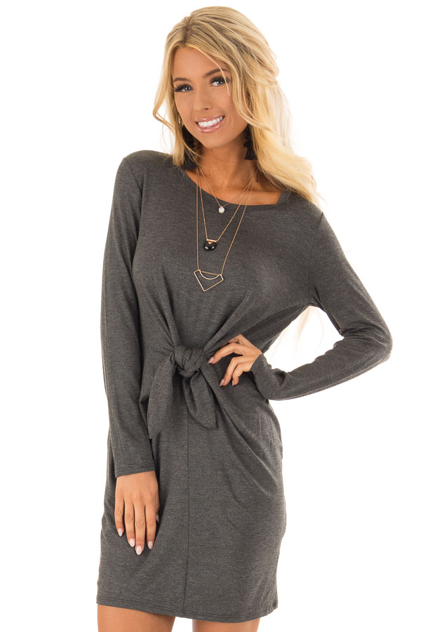 d3cb3ab6163 Charcoal Comfy Long Sleeve Dress with Front Tie - Lime Lush Boutique