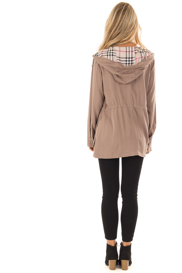 Dusty Olive Lightweight Jacket with Plaid Lining and Hood back full body